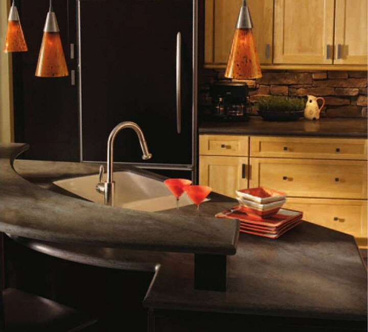 cuisine bar classique fonc en corian. Black Bedroom Furniture Sets. Home Design Ideas