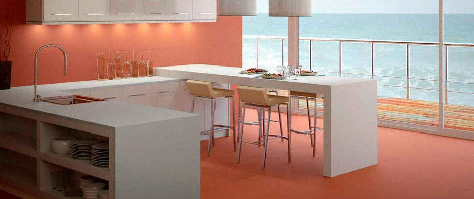 Cuisine bar moderne clair en cramique for Plan de travail cuisine ceramique prix