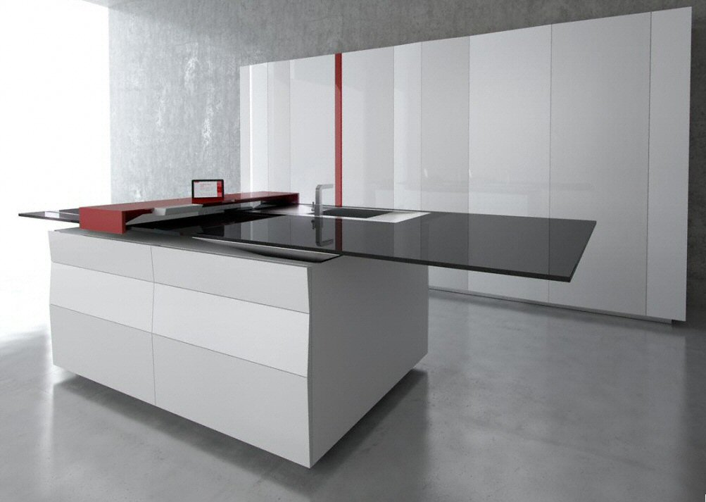 cuisine bar moderne fonc en corian. Black Bedroom Furniture Sets. Home Design Ideas