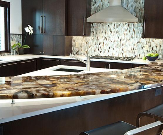 Cuisine - Bar moderne, foncé, en marbre -  2