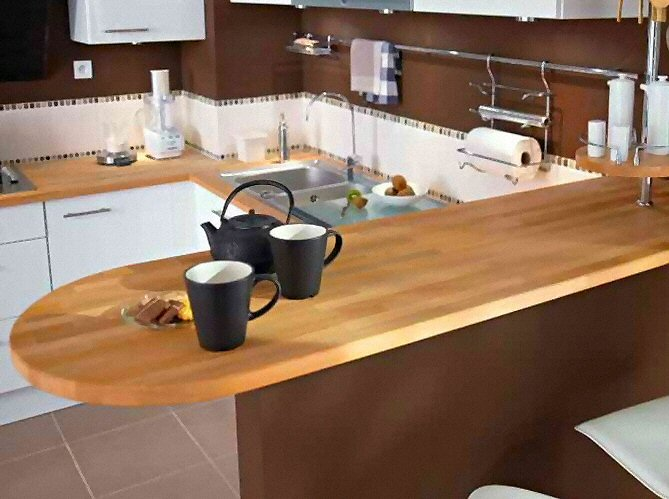 Cuisine gris plan de travail bois belle cuisine nous a for Photo plan de travail cuisine