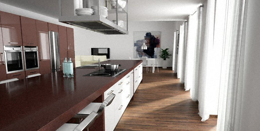 cuisine plan de travail de cuisine moderne fonc en quartz. Black Bedroom Furniture Sets. Home Design Ideas