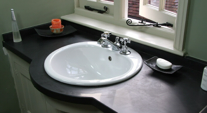 salle de bain plan de travail de salle de bain classique fonc en ardoise. Black Bedroom Furniture Sets. Home Design Ideas