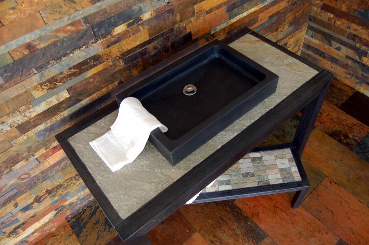 Salle de bain plan de travail de salle de bain moderne clair en ardoise - Plan salle de bain moderne ...