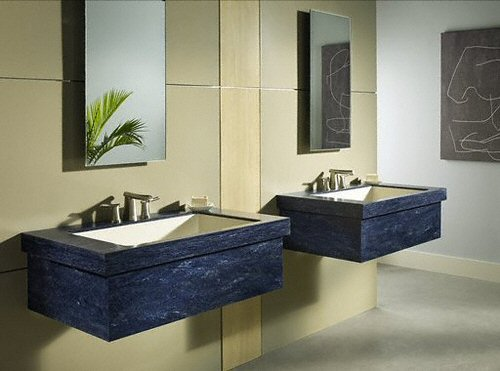 salle de bain plan de travail de salle de bain moderne fonc en corian. Black Bedroom Furniture Sets. Home Design Ideas