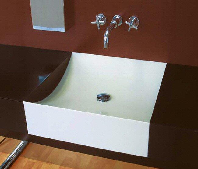 Salle de bain plan de travail de salle de bain moderne fonc en corian - Plan salle de bain moderne ...