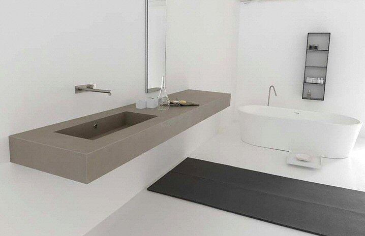 salle de bain plan de travail de salle de bain moderne fonc en quartz. Black Bedroom Furniture Sets. Home Design Ideas