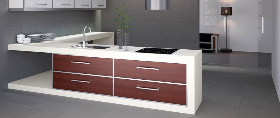 cuisine plan de travail en lot de cuisine moderne clair en c ramique. Black Bedroom Furniture Sets. Home Design Ideas