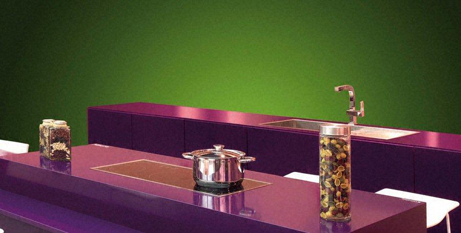 Cuisine - Plan De Travail En Îlot De Cuisine Moderne, Foncé, En Quartz