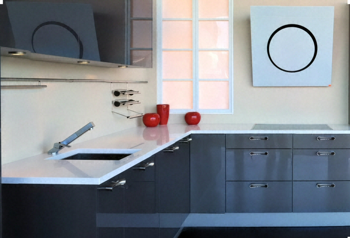 cuisine zone d 39 vier de cuisine moderne claire en quartz. Black Bedroom Furniture Sets. Home Design Ideas