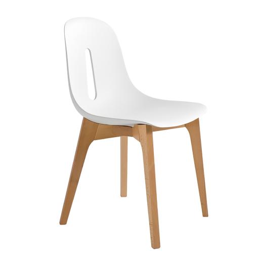 chaise bois et polyurethane woody blanc structure hetre. Black Bedroom Furniture Sets. Home Design Ideas