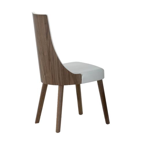 Decoration Cuisine Les Plats :  » Chaise tissu écopelle MILA marron structure bois placage noyer