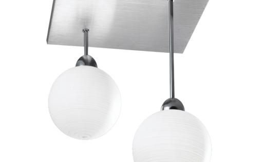 plafonnier a suspension mira verre blanc opaque serigraphie 2 boules. Black Bedroom Furniture Sets. Home Design Ideas
