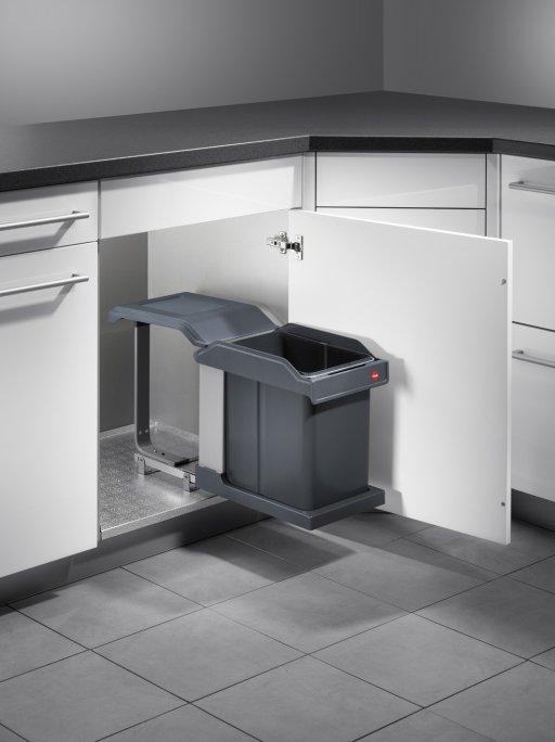 Poubelle 1 bac 20l ouverture automatique pour meuble de 400mm1 - Poubelle sous evier ouverture automatique ...