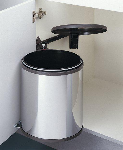 Poubelle ronde 15l pour meuble 400mm corps en inox - Petite poubelle de cuisine ...