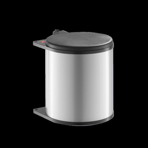 Poubelle ronde 15l pour meuble 400mm corps en metal gris - Couvercle pour poubelle automatique ...