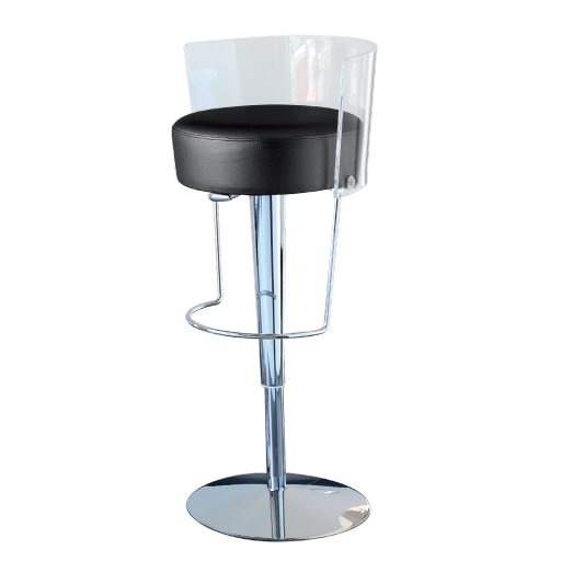tabouret a piston tissu ecopelle bongo noir et transparent. Black Bedroom Furniture Sets. Home Design Ideas