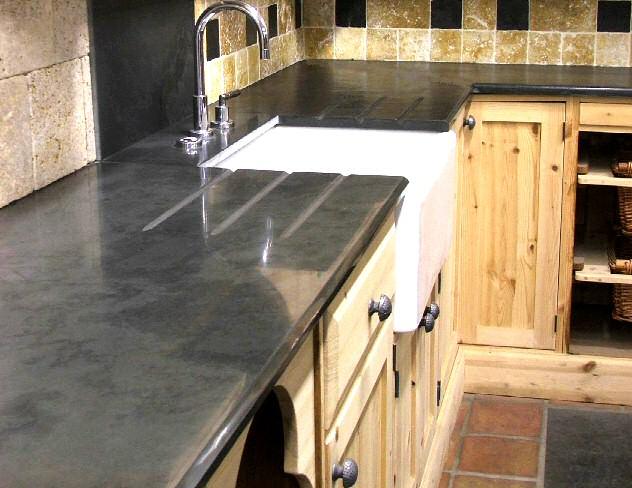 Ardoise pour plan de travail de cuisine et salle de bain for Salle de bain bois et ardoise