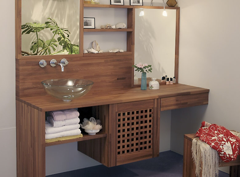 Plan de travail en bois massif pour cuisine et salle de bain - Quel plan de travail pour salle de bain ...